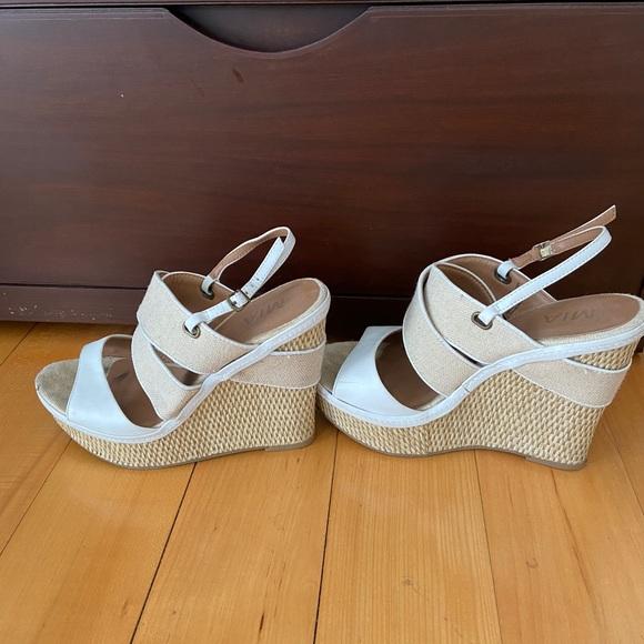 MIA White and beige wedge sandals